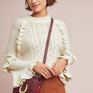 Anthropologie Ruffled Cable-Knit Sweater in Ivory